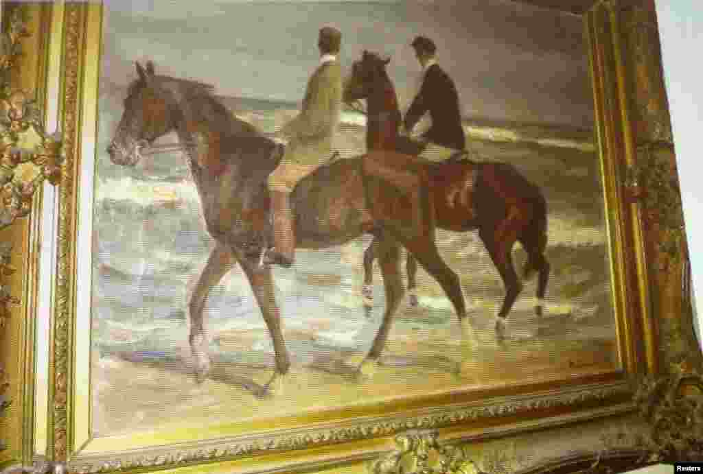 "A painting by German artist Max Liebermann ""Zwei Reiter am Strande"" (""Two Horsemen at the Beach"")."