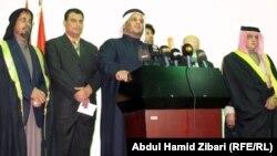 وفد عشائري عربي في مؤتمرصحفي بأربيل