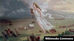 """Джон Гаст """"Дух фронтира"""". 1872. В центре – аллегорическая фигура Колумбии, которая до появления дяди Сэма олицетворяла Америку"""