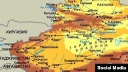 Қытайдың Шыңжаң Ұйғыр автономиялық ауданының картасы (Көрнекі сурет)