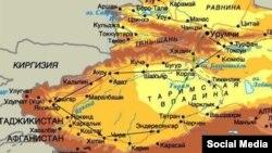 Карта Синьцзян-Уйгурского автономного района Китая