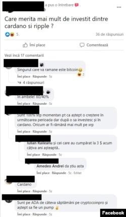 Discutie pe un grup de Facebook între fani ai criptomonedelor.