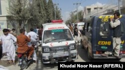 Rescue teams and ambulances near the site of Hazara Shi'a killings in Quetta, Balochistan, Pakistan in early September.