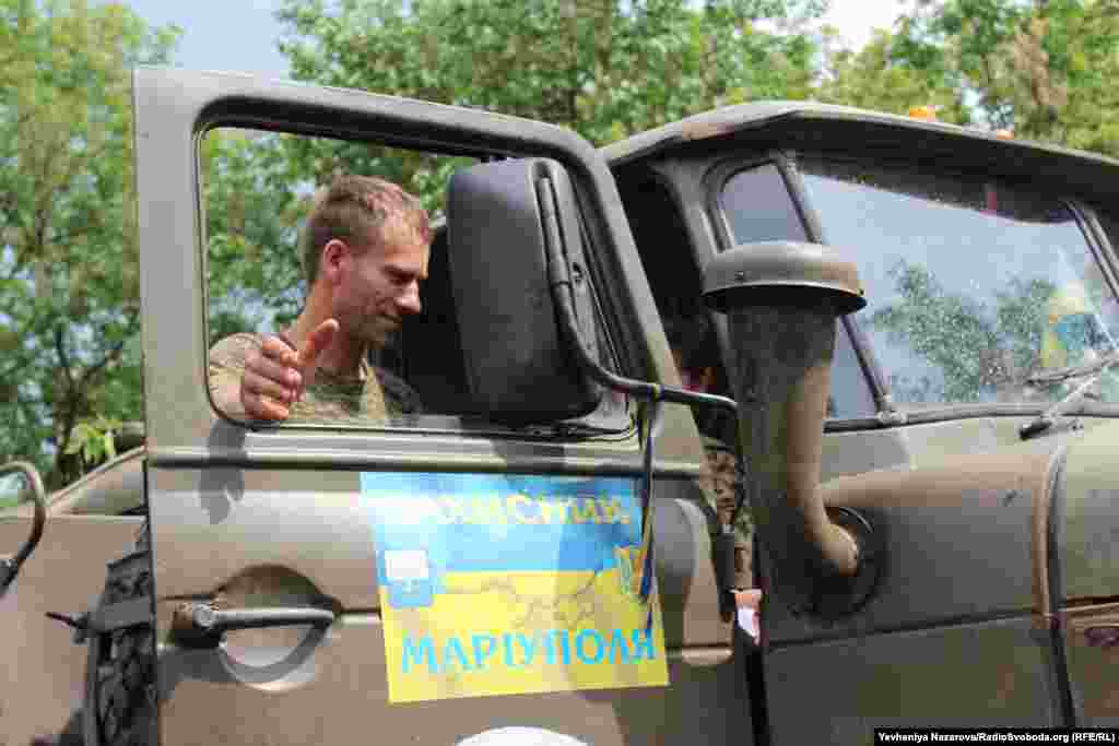 Military truck delivers fuel to the location of the batallion from Mariupol.
