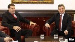 Средба на претседателот Ѓорге Иванов со претседателот на Република Српска Милорад Додик.