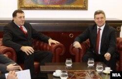 Presidenti maqedonas Gjorgje Ivanov dhe presidenti i Republikës Serbe të Bosnjës, Millorad Dodik.