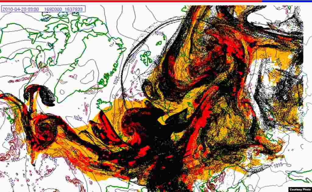 Projected spread of Icelandic ash cloud (20.4. 0300 UTC) - These images show a projection of the movement of the ash clouds from the Iceland volcanic eruption moving over Europe. The colors on the map represent: yellow: ash that has fallen by itself red: ash that has fallen by precipitation black: the actual ash cloud Source: Norwegian Meteorological Institute