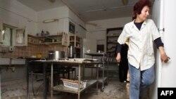 Последствия попадания одной из ракет в городе Нагария