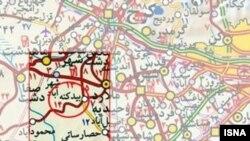 محل وقوع انفجار روز شنبه بر روی نقشه