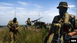 Проруски бунтовници во близина на градот Луханск.