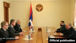 Nagorno Karabakh - Bako Sahakian (F from R), president of Nagorno Karabakh, meets with Matthias Wilkes (C, L), chief executive of the Bergstrasse district in the German state of Hesse, Stepanakert, 04Apr2013.