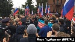 Акция протеста против пенсионной реформы в Томске 9 сентября 2018 года