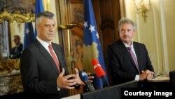 Zëvendëskryeministri i Kosovës, Hashim Thaçi me kryediplomatin e Luksemburgut, Jean Asselborn - Luksemburg