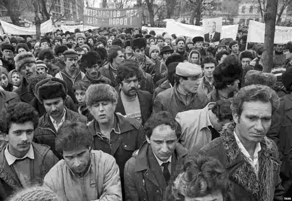 Crimean Tatars demonstrate in Krasnodar to demand the return to their homeland on March 6, 1988, in what were the first ethnic protests to be reported by the Soviet press.