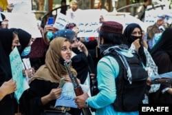 Afghan women protest in Kabul on September 7.