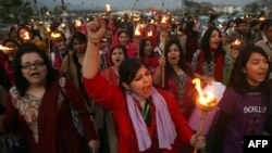 Pakistan -- Pakistani human rights activists march to mark International Women's Day in Islamabad, 08Mar2012
