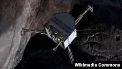 """Зонд """"Фила"""" спускается на поверхность кометы."""