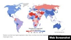 نقشهای از شدت شیوع افسردگی در کشورهای مختلف جهان که بر اساس تحقیق دانشگاه کوئینزلند از سوی روزنامه واشینگتن پست تهیه شده است.