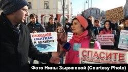 Пикет зоозащитников во Владивостоке