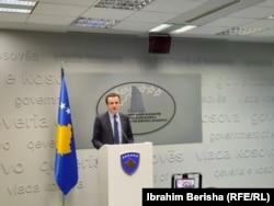 Kryeministri i Kosovës Albin Kurti në konferencë për media