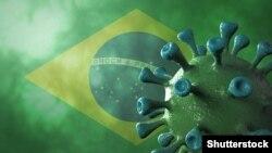 Коронавирустун бразилиялык түрүнүн үч өлчөмдүү көркөм сүрөтү. Анын артында Бразилиянын желеги тартылган. 2021-жылдын 1-марты.