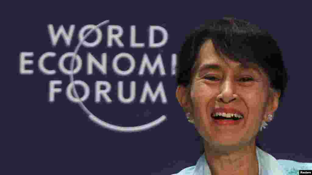 Suu Kyi at the World Economic Forum on East Asia in Bangkok on June 1, 2012.