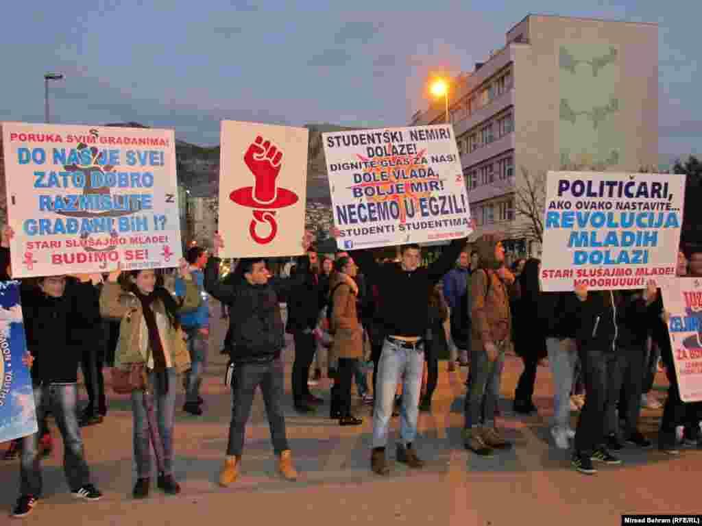Студенческий митинг в четвёртом по населению городе страны - Мостаре, 6 февраля