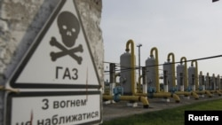 Gas pipes at the Oparivske underground gas-storage facility in the Lviv region of Ukraine (file photo)