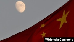 China flag Moon