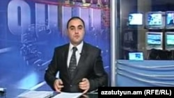 Armenia -- The GALA TV station in Gyumri broadcasts an evening news program.