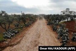 Турецкие военнослужащие на марше в провинции Идлиб. Февраль 2020 года