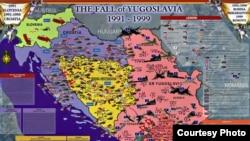 Mapa: Raspad Jugoslavije 1991-1999'