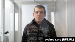 Yury Palityka appears in court in Chernihiv in April.