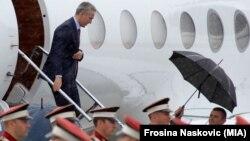 Пречек на Аеродромот во Скопје на генералниот секретар на НАТО, Јенс Столтенберг.