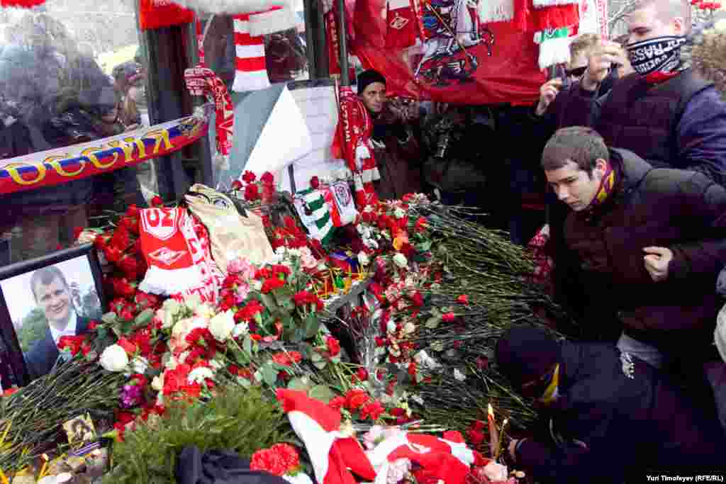 Soccer fans came to attend a memorial for Spartak Moscow fan Yegor Sviridov at the site of his stabbing on December 11.