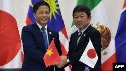 وزیر اقتصاد ژاپن و وزیر تجارت ویتنام در حاشیه نشست سران «سازمان همکاریهای اقتصادی آسیا - پاسفیک»، موسوم به اَپِک در شهر دانانگ ویتنام