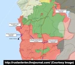 Карта Сирії, на якій відзначені, підтверджені активістами, місця присутності російських військових