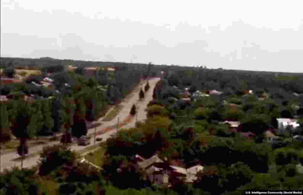 A photo posted on social media that, according to U.S. intelligence, also shows a Buk missile system transporter traveling near the Ukrainian city of Krasnodon toward Russia after the downing of the Malaysia Airlines Boeing 777.