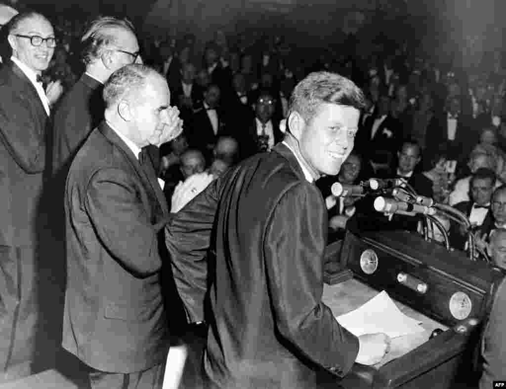 Democratic nominee John F. Kennedy during the 1960 presidential campaign in New York on May 14, 1960.