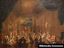 Игнац Унтербергер. Церемония посвящения в венской масонской ложе в царствование Иосифа II. Считается, что в дальнем правом углу комнаты изображены разговаривающие друг с другом Моцарт и автор либретто «Волшебной флейты» Эмануэль Шиканедер.