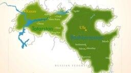 Tatarstan-Bashkortostan -- RFE/RL Tatarstan-Bashkortostan map, 2006.