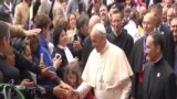 Pope Francis meets with Roman Catholics in Baku.