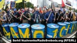 Під час акції на підтримку п'ятого президента України Петра Порошенка біля Печерського районного суду. Київ, 8 липня 2020 року