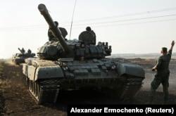 """Т-72 на совместных учениях танкистов """"ДНР"""" и """"ЛНР"""", 2017 год"""