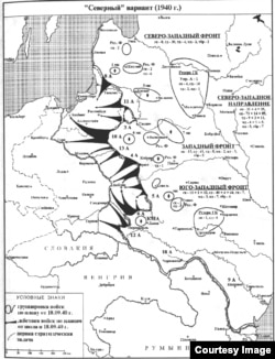 Разработанный Генштабом РККА план удара через Восточную Пруссию, карта из книги М. Мельтюхова «Упущенный шанс Сталина»