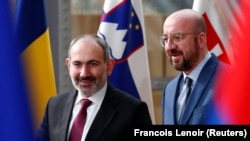 BELGIUM -- Armenian Prime Minister Nikol Pashinian is welcomed by EU Council President Charles Michel in Brussels, March 9, 2020