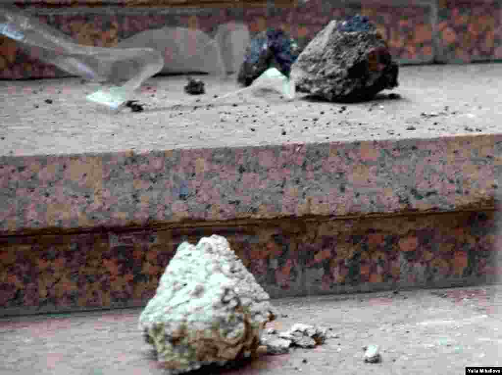 Moldova – Stones on the stairs outside the parliament building downtown Chisinau thrown by protesters, 07Apr2009