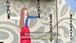 """Artiști """"de gherilă"""" din Rusia realizează picturi murale care exprimă susținerea protestelor din Belarus"""