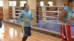 Боксшы Саида Хасенованың жаттығуы