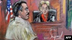 """Рисунок заседания суда в США по """"делу Бута"""""""